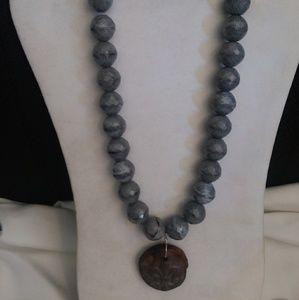 Handmade Gray Glass Beaded Necklace Pendant OOAK
